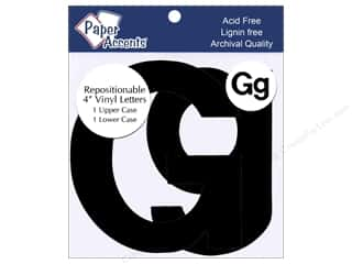 "Lint Removers $2 - $3: Paper Accents Adhesive Vinyl 4 in. Letters ""Gg"" 2 pc. Removable Black"
