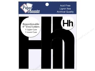"Paper Accents Adhesive Vinyl Letters Removable 4"" Hh Black 2pc"
