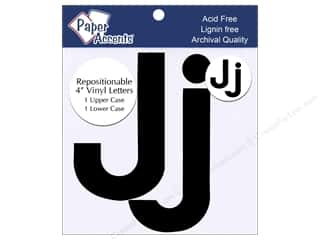 "iron-on upper and lower case letters: Adhesive Vinyl 4 in. Letters ""Jj"" 2 pc. Removable Black"