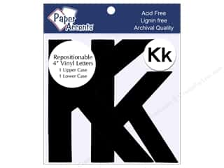 "iron-on upper and lower case letters: Adhesive Vinyl 4 in. Letters ""Kk"" 2 pc. Removable Black"