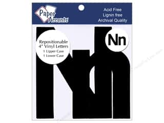 "Sheet Vinyl Black: Paper Accents Adhesive Vinyl 4 in. Letters ""Nn"" 2 pc. Removable Black"