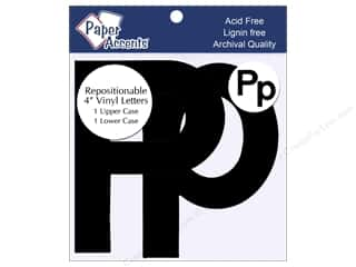 "iron-on upper and lower case letters: Adhesive Vinyl 4 in. Letters ""Pp"" 2 pc. Removable Black"