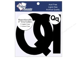 "Paper Accents: Adhesive Vinyl 4 in. Letters ""Qq"" 2 pc. Removable Black"