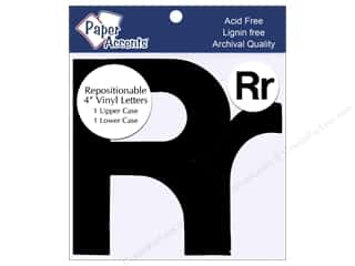 "Sheet Vinyl Black: Paper Accents Adhesive Vinyl 4 in. Letters ""Rr"" 2 pc. Removable Black"