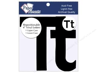 "Sheet Vinyl Black: Paper Accents Adhesive Vinyl 4 in. Letters ""Tt"" 2 pc. Removable Black"