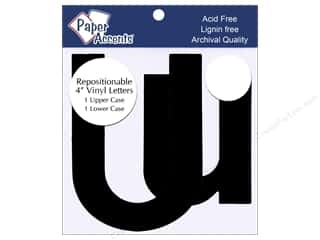 "Paper Accents Adhesive Vinyl Letters Removable 4"" Uu Black 2pc"