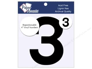 "Paper Accents Adhesive Vinyl Numbers Removable 4"" 3 Black 2pc"