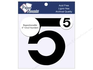 "Paper Accents Adhesive Vinyl Numbers Removable 4"" 5 Black 2pc"