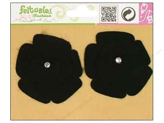 Feltables Fashion Embel Spinning Flower Black 2pc