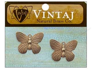 Vintaj Charm Butterfly Nat Brass 2pc