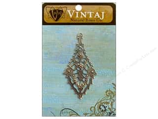 Charms Vintaj: Vintaj Charm Etruscan Drop Filigree Natural Brass