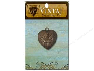 Charms Vintaj: Vintaj Charm Love Bird Heart Natural Brass