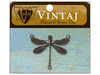 Vintaj Charm Dragonfly Connector Nat Brass