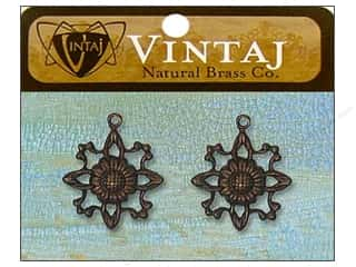 Vintaj Charm Filigree Sunflower Nat Brass 2pc