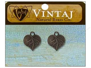 Vintaj Charm Teensie Nouveau Leaf Nat Brass 2pc