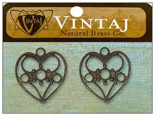 Vintaj Charm Delicate Heart Nat Brass 2pc