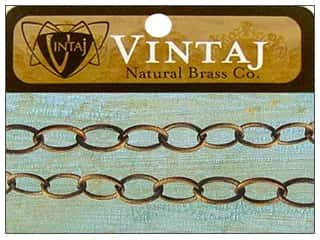 Vintaj Finding Chain 16&quot; Fine Oval 8mm Nat Brass