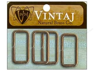 Vintaj Finding Rectangle Ring 15mm Nat Brass 4pc