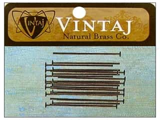 "Vintaj Finding Head Pin 1"" Nat Brass 30pc"