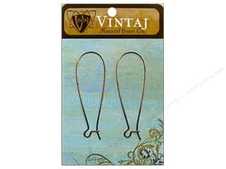 Vintaj Finding Ear Wire Arched 17mm Nat Brass 2pc