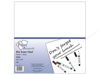 Vinyl Glass: Paper Accents Adhesive Vinyl 12 x 12 in. Removable White Dry Erase