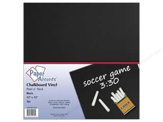 Sheet Vinyl: Paper Accents Adhesive Vinyl 12 x 12 in. Removable Black Chalkboard