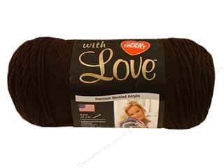 Crochet Hooks Black: Red Heart With Love Yarn #1321 Chocolate 7oz.