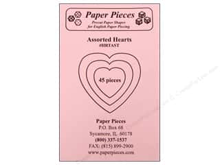 "Paper Pieces paper dimensions: Paper Pieces Shape Assorted Hearts 1.5"", 2.5"", 3"" 45pc"