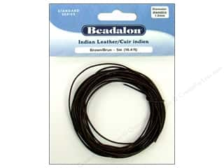 Cording $5 - $10: Beadalon Indian Leather Cord 1.0 mm (.039 in.) Brown 5 m (16.4 ft.)