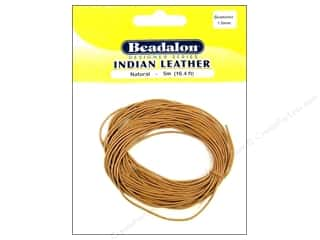 Leather Supplies Jewelry Making: Beadalon Indian Leather Cord 1.0 mm (.039 in.) Natural 5 m (16.4 ft.)