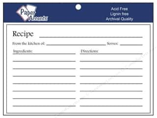 Paper Accents Recipe Card 4&quot;x 6&quot; White 25pc