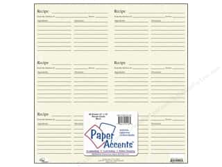 Paper Accents Cards: Paper Accents Recipe Card Sheet 12 x 12 in. Birch (25 sheets)
