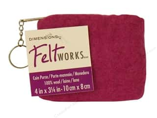Fabric Bags / Purses: Dimensions 100% Wool Blanks FW Coin Purse Rose