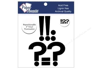 "Sheet Vinyl Black: Paper Accents Adhesive Vinyl 4 in. Punctuation ""!?-."" 8 pc. Removable Black"