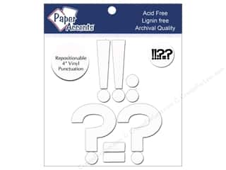 "Paper Accents Adhesive Vinyl Punctuation Removable 4"" !?-. White 8pc"