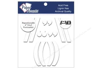 "Paper Accents Adhesive Vinyl Punctuation Removable 4"" (,)/"" White1 2pc"