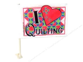 Bright Quilting Notions: Quilters Gift Shop Car Flag I Love Quilting