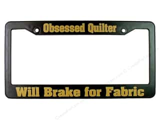 Quilters Gift Shop License Plate Frame Obsessed Quilter Black