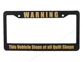 Quilters Gift Shop License Plate Frame Warning Blk