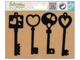 Feltables Fashion Iron On Heart Keys 4pc