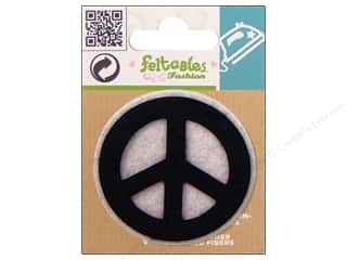 Irons Craft & Hobbies: Feltables Fashion Iron On Peace Sign Black and White