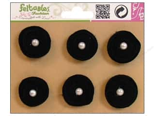 Feltables Fashion Embel Spiral Pearl Flowr Blk 6pc