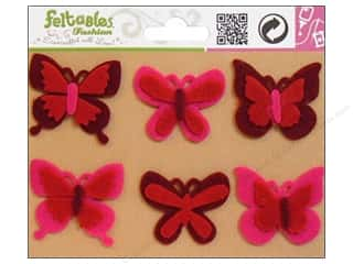 Feltables $1 - $2: Feltables Fashion Embellishment Butterflies Red/Fuchsia 6pc