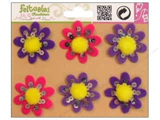 Feltables $1 - $2: Feltables Fashion Embellishment Pom Flower Violet 6pc