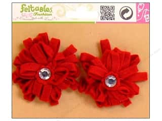 Feltables Fashion Embel Ribbon Flwr Red 2pc