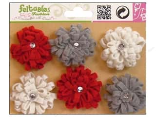 Feltables $1 - $2: Feltables Fashion Embellishment Ribbon Flower Ivory/Grey/Red 6pc