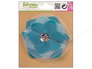 Clearance Feltables Fashion Embellishment: Feltables Fashion Embel Corsage Tulle Flwr Turq