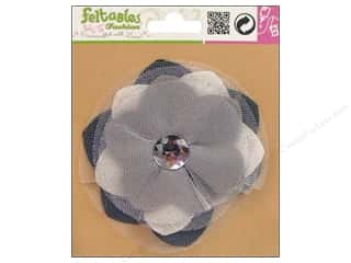 Feltables Black: Feltables Fashion Embellishment Corsage Tulle Flower Neutral