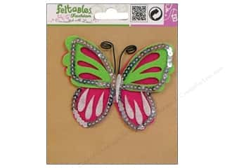 Sequins Green: Feltables Fashion Embellishment Corsage Butterfly