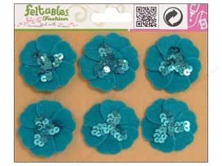 Feltables Fashion Embel Sequin Flwr Turquoise 6pc